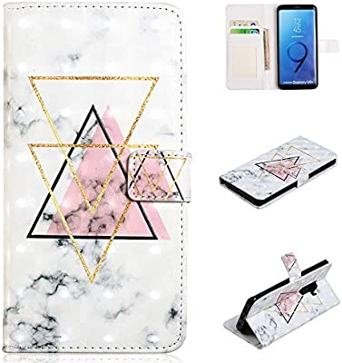 Galaxy S9 Plus Case, for [S9+], MerKuyom [Kickstand] Premium PU Leather Wallet Pouch Flip Stand Cover Case Holser for Samsung Galaxy S9 Plus / S9+, W/Stylus (Triangle Marble Pattern)