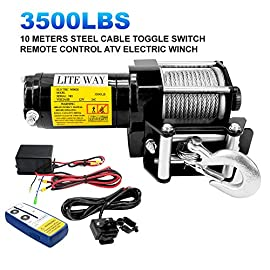 12V Electric Winch 3500lbs/1591kg for UTV ATV Boat with Handheld Remote and Corded Control,Steel Wire Rope, Waterproof IP68 ATV Winch, 1 Year Warranty
