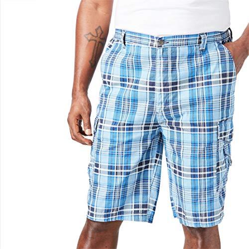 Canvas Shorts Plaid (KingSize Men's Big & Tall Canyon Cargo Shorts, Navy Plaid Big-44)