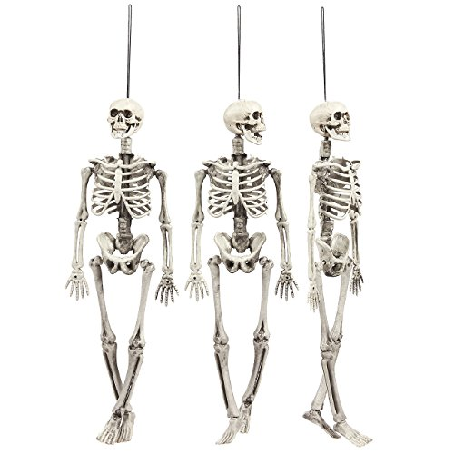 Juvale Pack of 3 Hanging Skeletons - Indoor Outdoor Halloween Decoration - 5 x 1.7 x 15.2 Inches