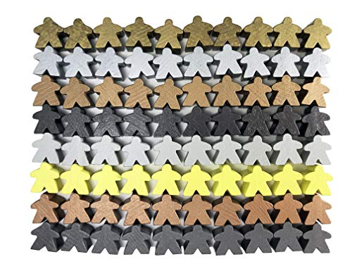 80 Metallic Color Wooden Meeples - Standard Size (16mm)