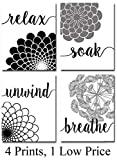 black and white bathroom decor Bath Flowers - Set of Four Photos (8x10) Unframed - Makes a Great Gift Under $15 for Bathroom Decor