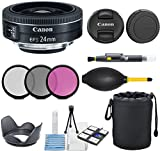 Canon EF-S 24mm f/2.8 STM Lens with 3pc Filter Kit (UV, CPL, FLD) + Pouch + Lens Hood + Deluxe Cleaning Kit - International Version