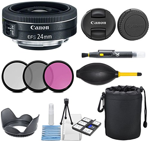 Canon EF-S 24mm f/2.8 STM Lens with 3pc Filter Kit (UV, CPL, FLD) + Pouch + Lens Hood + Deluxe Cleaning Kit - International Version by Celltime Inc.