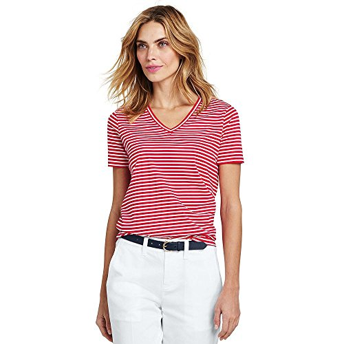 Lands' End Women's Stripe Relaxed Short Sleeve Supima Cotton V-Neck T-Shirt, L, Bold Coral Stripe Bold Stripe Cotton Shirt