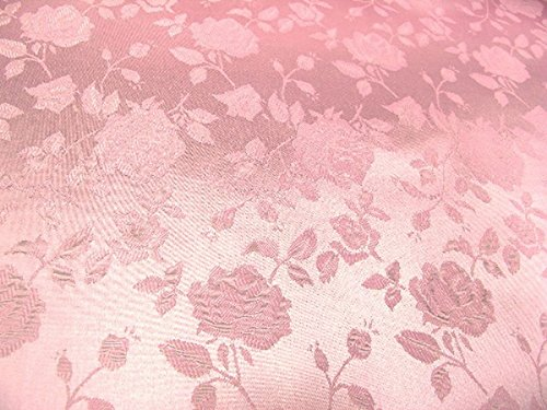 Floral Jacquard Brocade Satin Fabric by the Yard (Pink)