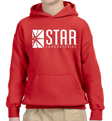New Way 859 - Youth Hoodie Star Laboratories Labs Comic Hero Unisex Pullover Sweatshirt Large Red ()