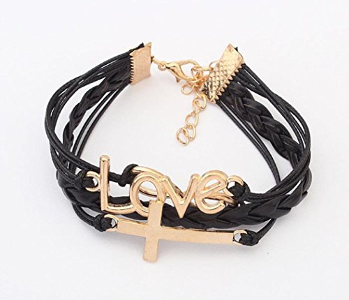 Clearance ! Bracelet, Fitfulvan 2018 Infinity Romantic Love And Cross Handmade Leather Braid Fashion Bracelet Gift Jewelry (Black) Gemstone Personalized Cross