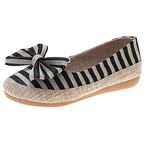 JJHAEVDY Women's Stripe Bowkowt Low Wedge Pumps Slip On Casual Shoes Fashion Comfort Non-Slip Penny Driving Boat Shoes (Air Force Towable)