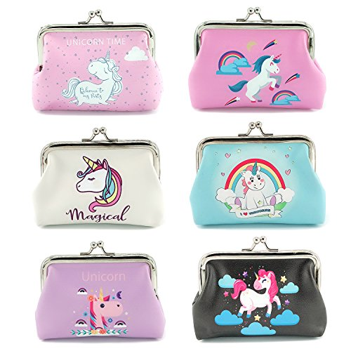 Spring Coin Set - Elesa Miracle 6pc Women Girl Unicorn Coin Purse Clutch Pouch Wallet Value Set