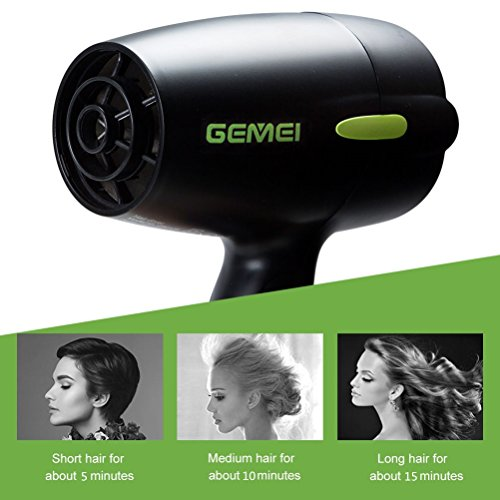Professional Folding Blow Dryer for Travel 1300 to 1500W Negative Ion Small Hair Dryer Dual Voltage Lightweight,Mini 9x10 Inch Size, Gifts for Women,Green by Mannice (Image #4)