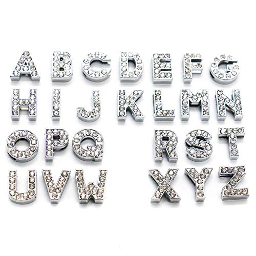 IDS 52pcs A-Z 8mm Alloy Rhinestone Letter Sliders Charm Alphabet Letter Beads Pendants Digit Number DIY Crafts]()