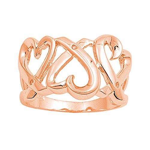 Triple 14MM Wide Heart Promise Ring Rose Gold Plated 925 Sterling Silver
