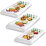 Laza Inflatable Buffet Salad Bar Serving Ice Tray Beverage Ice Cooler Food Drink Holder Server with Drain Plug for Party BBQ Picnic Camping (3-Pack)