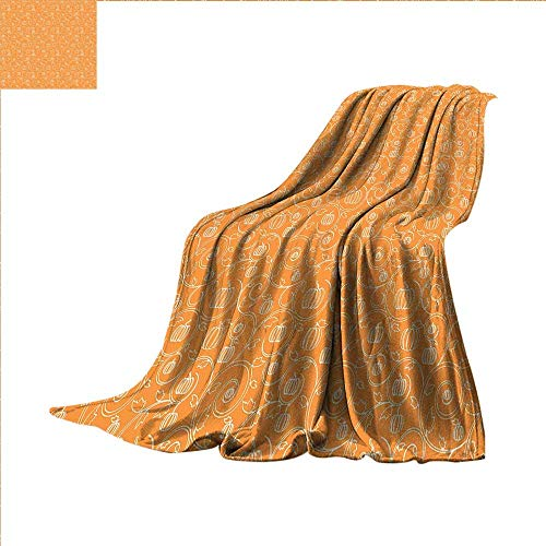 smallbeefly Harvest Throw Blanket Pattern with Pumpkin Leaves and Swirls on Orange Backdrop Halloween Inspired Velvet Plush Throw Blanket 80