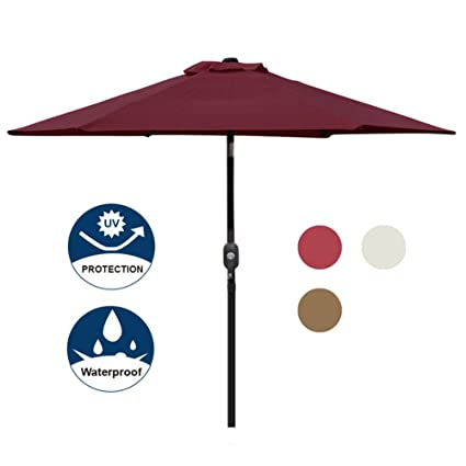 Blissun 7.5 ft Outdoor Market Patio Umbrella with Push Button Tilt and Crank (Red)