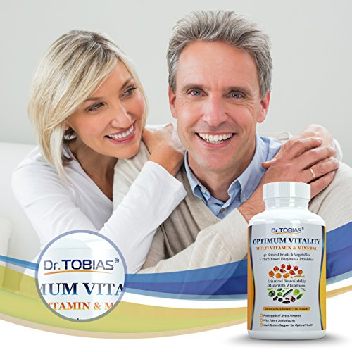 Dr. Tobias Vitality - Multivitamin for Women and for Men - Enhanced Bioavailability - With Whole Food & Herbal Ingredients, Minerals and Enzymes - Rich in Vitamin B & C - Non-GMO