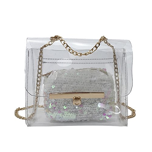 Transparent Women Majome Chain Shoulder Bag Transparent Feeling Sequined Jacket Summer Beach White Crossbody Bags