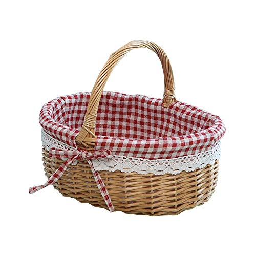 Storage Basket- Wicker Basket Woven Picnic Basket Empty Oval Willow Storage Basket with Fruit Serving Baskets Easter Basket for Office, Bedroom, Closet, Toys