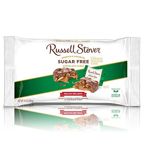 - Russell Stover Sugar-Free Pecan Delight Laydown Bag 10 Ounce Russel Stover Sugar-Free Candy, Chocolate Candy Pack, Pecans and Buttery Caramel Covered In Chocolate Candy, Sweetened with Stevia