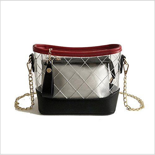 Rrock Ms. Summer Stray Package Bolso Transparente De Dos Piezas Tres Colores,Black Black