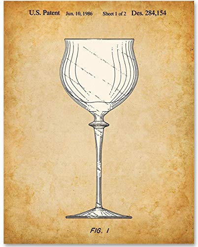 Wine Glass - 11x14 Unframed Patent Print - Makes a Great Gift Under $15 for Wine Lovers, Grottos, Wine Cellars and Home Bar Decor ()