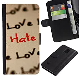 Billetera de Cuero Caso Titular de la tarjeta Carcasa Funda para Samsung Galaxy Note 4 SM-N910 / Love Hate Pattern / STRONG