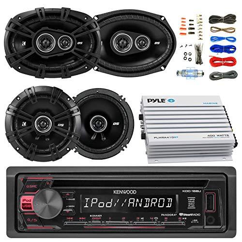 """Kenwood KDC Car Radio  AUX CD Player Receiver Bundle Kit with 2 Kicker DSC69304 6x9"""" Coaxial 3Way Car Speaker, 2x DSC654 6.5"""" 2 Way Speaker, 4 Channel Amplifier, Amp Kit"""