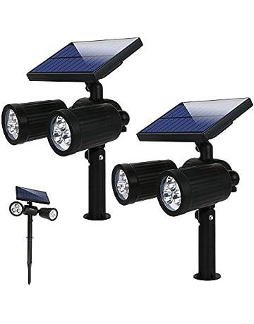 Lámparas Solares Luz de Jardín Focos Led Exterior con 300 Lúmenes, 2 Modos y Impermeable