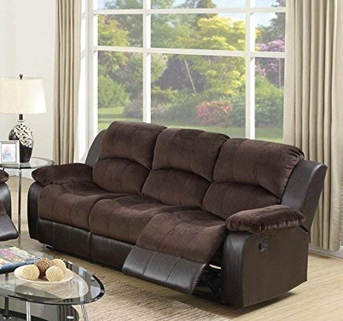 Modern Chocolate Padded Suede and Leather Reclining Sofa