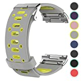 Fitbit Ionic Silicone Waterproof Replacement Band, Sport Edition for Men or Women by Pantheon, Fitbit's Newest Fitness Tracker Smart Watch Wristbands, Medium to Large Strap (Gray and Yellow)