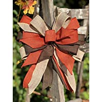 Fall Wreath bow. Rustic fall decor. Bows for wreaths. Rustic Fall bows Rustic fall ribbon Fall decorations. Autumn decor. Halloween decor