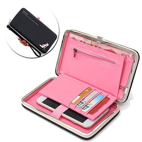 Caja de la cartera del teléfono, Vandot Estilo Largo Multiusos del Embrague del Cuero Bolso del Diamante de los Talones de la Caja del Teléfono Móvil del Monedero para Wiko Robby / Wiko U Feel / Wiko  Shoes -6