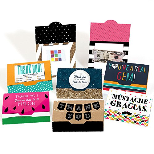 Gift Card Holder Set (Assorted Thank You Note Cards - Blank Thank You Money and Gift Card Holders - Set of 8)