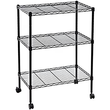 Lovely SONGMICS 3 Tier Wire Shelves Utility Rolling Storage Rack Kitchen Microwave  Cart Black ULSS03P
