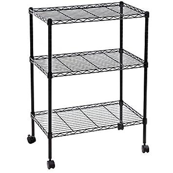 Amazoncom SONGMICS Tier Wire Shelves Utility Rolling Storage - Kitchen storage racks shelves