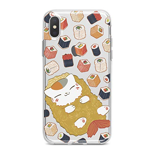 Lex Altern TPU Case for iPhone Apple Xs Max Xr 10 X 8+ 7 6s 6 SE 5s 5 Food Clear Kawaii Cat Design Print Kids Girls Fish Gift Women Lightweight Cover Cute Flexible Slim fit Smooth Soft Sushi Pattern -