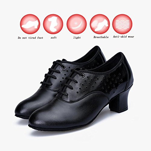 XUE Women's Modern Shoes/Ballroom Shoes Shiny/Leather Lace-up Shoes/Lightweight Summer/Breathable Sneakers/Oxford Non Customized Heel Customizable Dance Shoes Black Red (Color : A, Size : 39) A