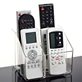 APSOONSELL Acrylic TV Remote Control Holder Organizer, Desktop Storage Office Desktop Organizer Media Storage 5 Slot