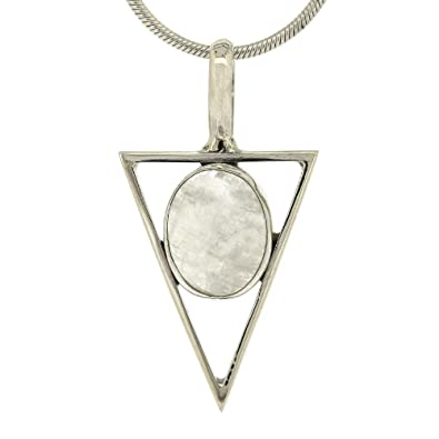Nova Silver Triangle Pendant with Oval Moonstone 46cm Silver Snake Chain bOOPd