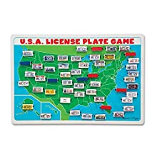 "Melissa & Doug U.S.A. License Plate Game (Wooden ""Flip to Win"" Travel Game, Two Players, Great Gift for Girls and Boys - Best for 5, 6, and 7 Year Olds)"
