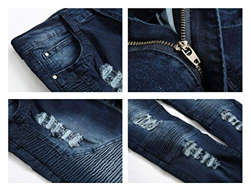 Fit 38 Black2 Da Uomo color Strappati Comodo Battercake Skinny Jeans Slim Pantaloni Normali Size Elasticizzati 6qnR0p