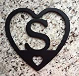Personalized (1 Initial) Heart Trivet - Custom American-Made Steel with High Temp Resistant Black Finish - Durable, Strong and Handcrafted - Protect your Tables & Serve your Meals Hot!