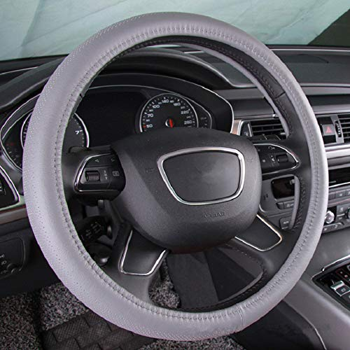 GUVDYJ Steering Cover 38cm Four Seasons Style Top Layer Genuine Leather Car Steering Wheel Cover Anti Slip Breathable Auto Steering Cover Beige Black,Gray from GUVDYJ