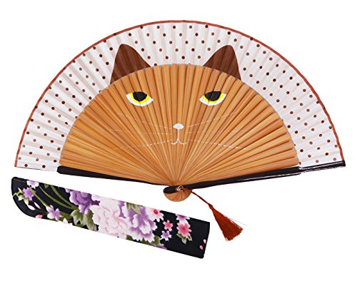 Amajiji Hand Fans for Women, Folding Fan, Women Lovely Brown Cat Folding Silk Fan Handheld Fan for Wedding, Dancing, Church, Party, Gifts - with a Fabric Sleeve for Protection (Brown)