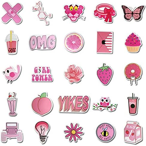 Hborna 50 Pcs Stickers For Water Bottle Vsco Cute Aesthetics Waterproof Vinyl Pink Stickers For Water Bottle Hydro Flask Car Bicycle Bumper Graffiti Luggage Computer Durable Stickers For Girl Amazon Sg Electronics