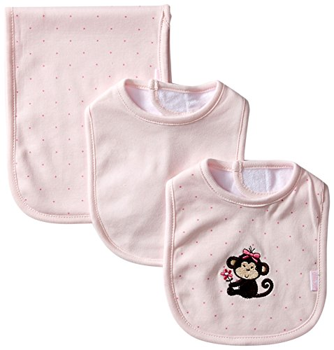 Little Me Baby Girls' 3 Piece Bib and Burp Set, Monkey, Light Pink, One Size