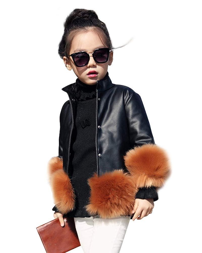 Suncaya Cappotti da Bambina Ragazza Autunno Inverno Manica Lunga Pelliccia Faux Cappotto Giacche