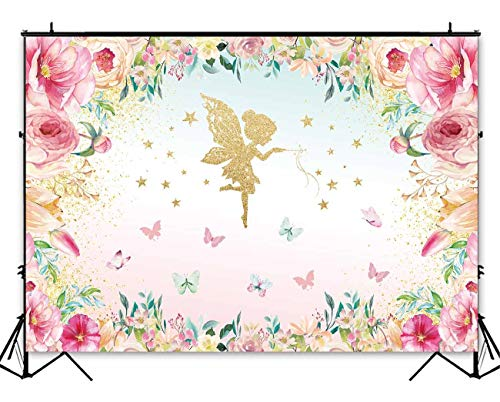 Funnytree 8X6ft Pink and Gold Floral Fairy Butterfly Party Backdrop Princess Flowers Girl Birthday Background Wonderland Tea Time Watercolor Baby Shower Decorations Photo Studio for Photography