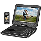 """UEME 10.1"""" Portable DVD Player CD Player with Car Headrest Mount Holder, Swivel Screen Remote Control Rechargeable Battery AC Adapter Car Charger, Mini DVD Player PD-1020 (Black)"""